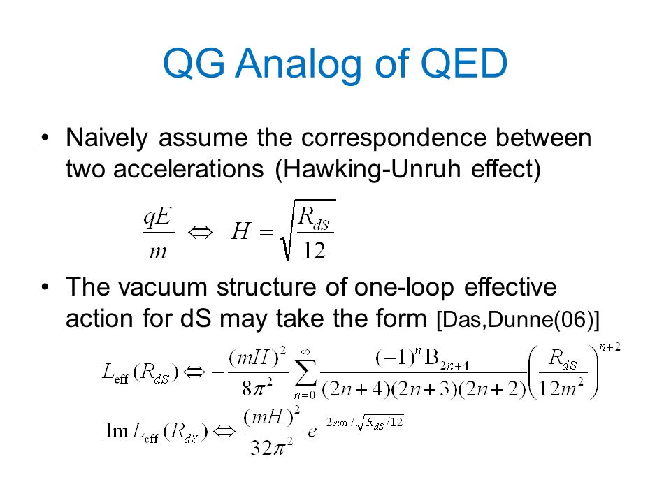 QG Analog of QED Naively assume the correspondence between two accelerations (Hawking-Unruh effect) The vacuum structure of one-loop effective action for dS may take the form [Das,Dunne(06)]