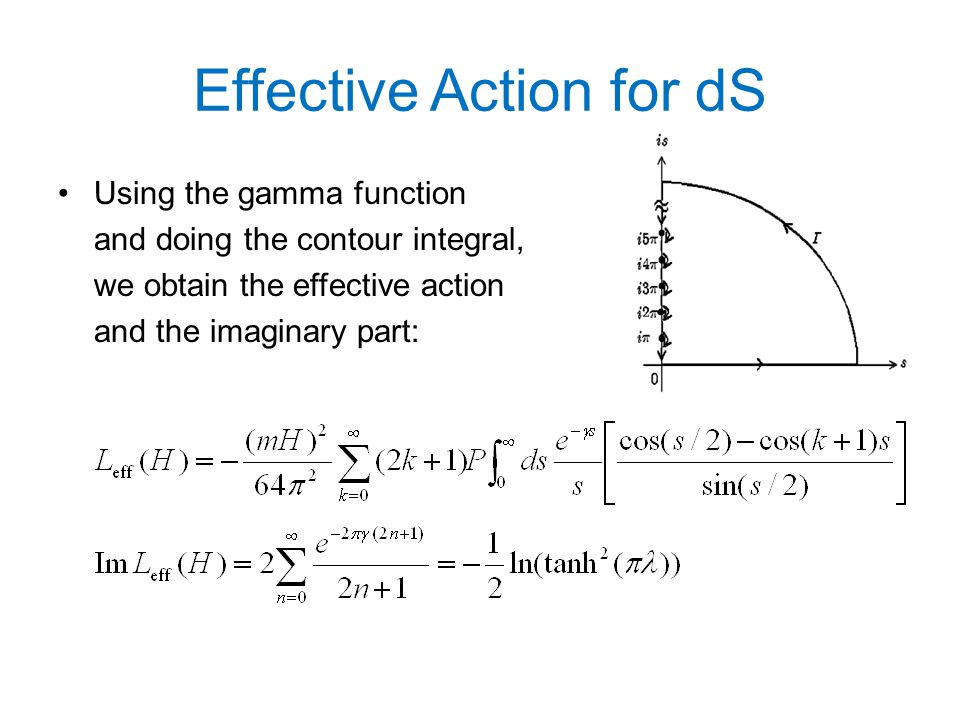 Effective Action for dS Using the gamma function and doing the contour integral, we obtain the effective action and the imaginary part:
