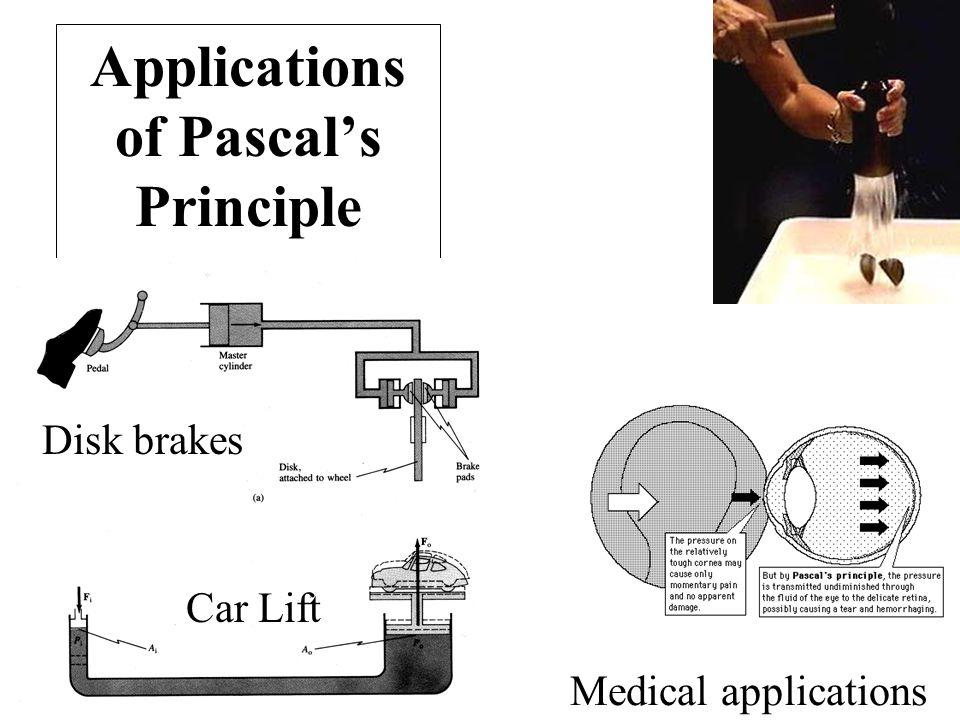 Applications of Pascal's Principle Disk brakes Car Lift Medical applications