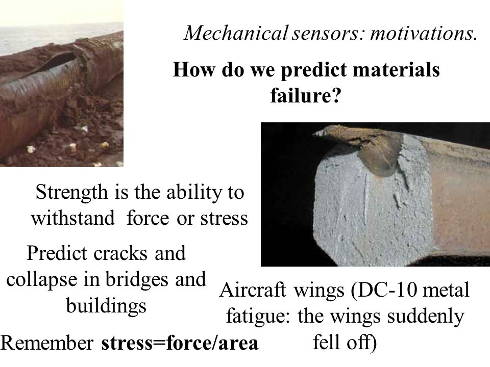 Mechanical sensors: motivations.How do we predict materials failure.
