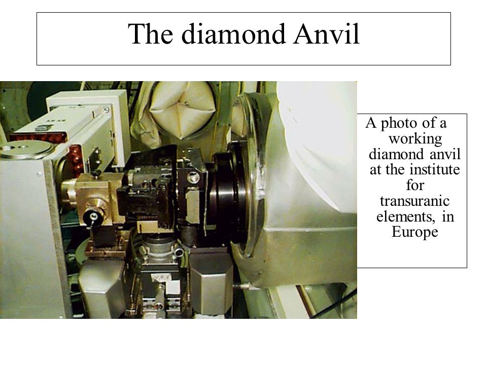 The diamond Anvil A photo of a working diamond anvil at the institute for transuranic elements, in Europe