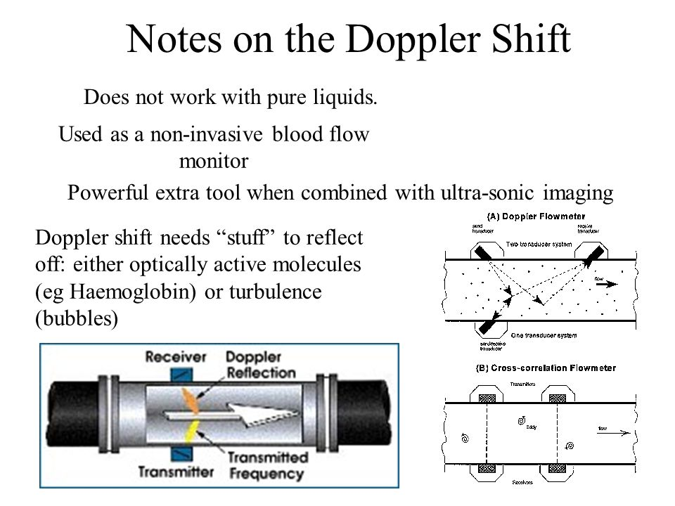 Doppler shift needs stuff to reflect off: either optically active molecules (eg Haemoglobin) or turbulence (bubbles) Does not work with pure liquids.