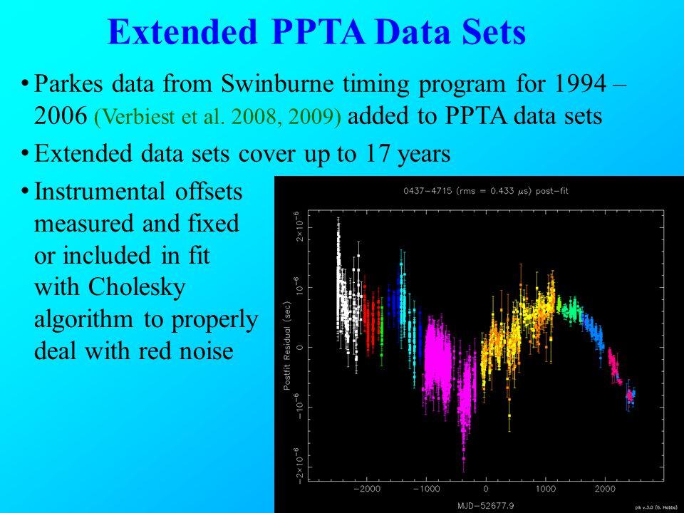 Extended PPTA Data Sets Parkes data from Swinburne timing program for 1994 – 2006 (Verbiest et al.