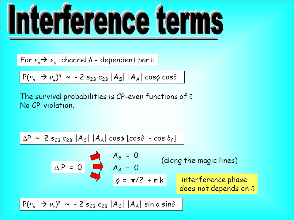  A S = 0  P = 0 (along the magic lines)  =  /2 +  k  A A = 0 interference phase does not depends on  P(    )  ~ - 2 s 23 c 23 |A S | |A A | cos  cos  For    channel  - dependent part: The survival probabilities is CP-even functions of  No CP-violation.