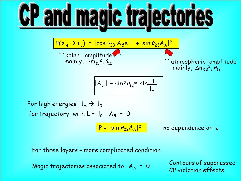 P( e   ) =  cos  23  A S e i  + sin  23 A A   2   A S   ~ sin2  12 m sin  L l m For high energiesl m  l 0 for trajectory with L = l 0  A S