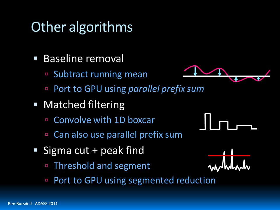Other algorithms  Baseline removal  Subtract running mean  Port to GPU using parallel prefix sum  Matched filtering  Convolve with 1D boxcar  Can also use parallel prefix sum  Sigma cut + peak find  Threshold and segment  Port to GPU using segmented reduction Ben Barsdell - ADASS 2011