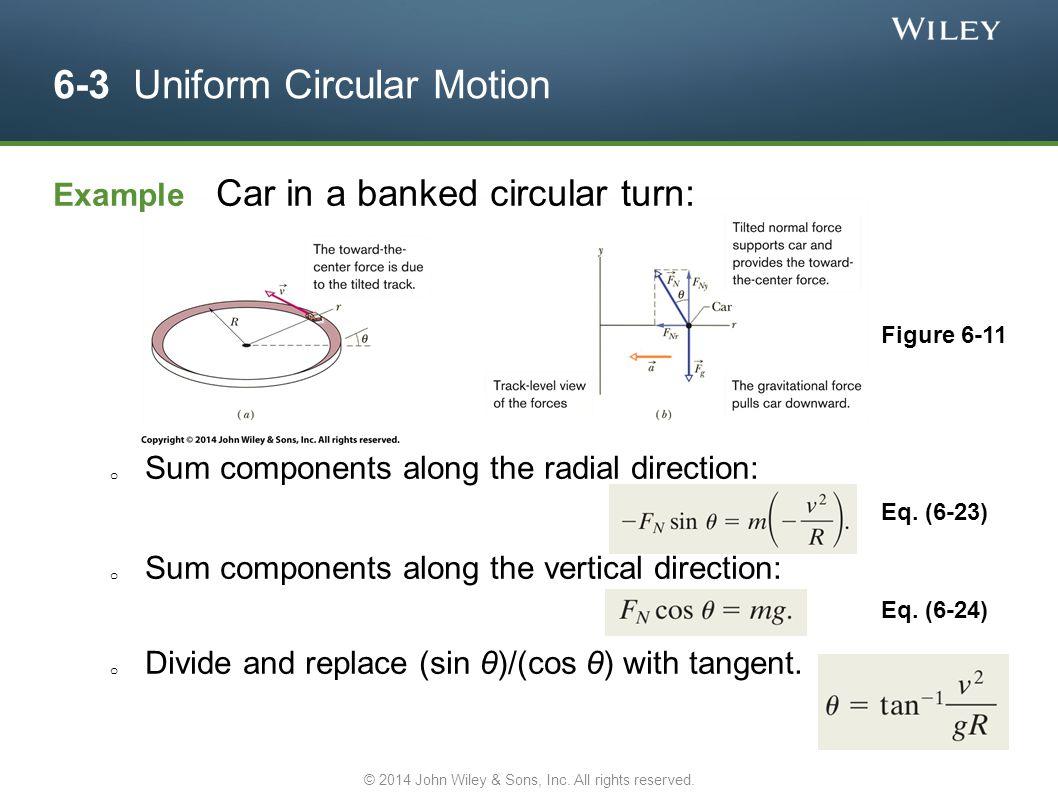 6-3 Uniform Circular Motion Example Car in a banked circular turn: o Sum components along the radial direction: o Sum components along the vertical di
