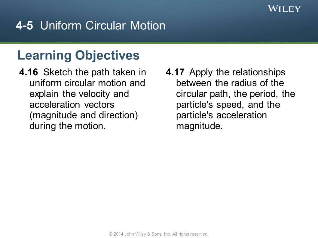 4-5 Uniform Circular Motion 4.16 Sketch the path taken in uniform circular motion and explain the velocity and acceleration vectors (magnitude and dir