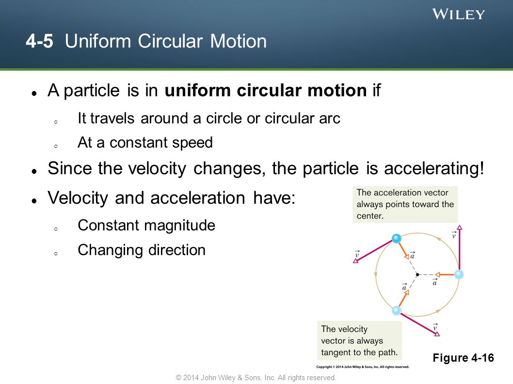 4-5 Uniform Circular Motion A particle is in uniform circular motion if o It travels around a circle or circular arc o At a constant speed Since the v