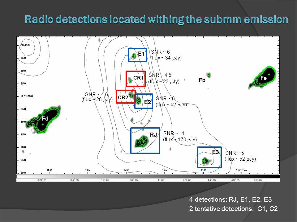 4 detections: RJ, E1, E2, E3 2 tentative detections: C1, C2 SNR ~ 6 SNR ~ 4.5 SNR ~ 4.6 SNR ~ 6 SNR ~ 11 SNR ~ 5 (flux ~ 34  Jy) (flux ~ 23  Jy) (fl
