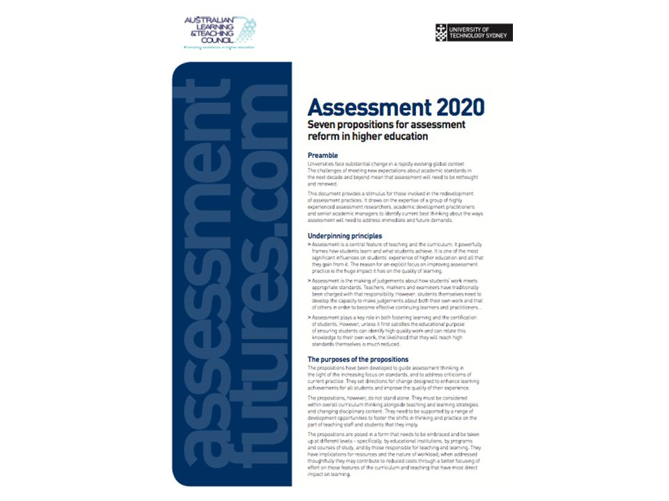 AUSTRALIAN LEARNING AND TEACHING COUNCIL Assessment 2020 cover