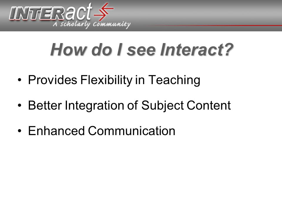 How do I see Interact? Provides Flexibility in Teaching Better Integration of Subject Content Enhanced Communication