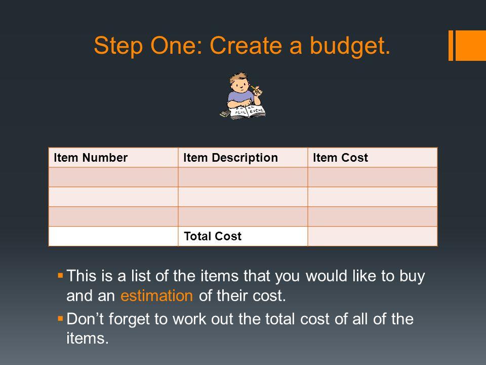 Step One: Create a budget.