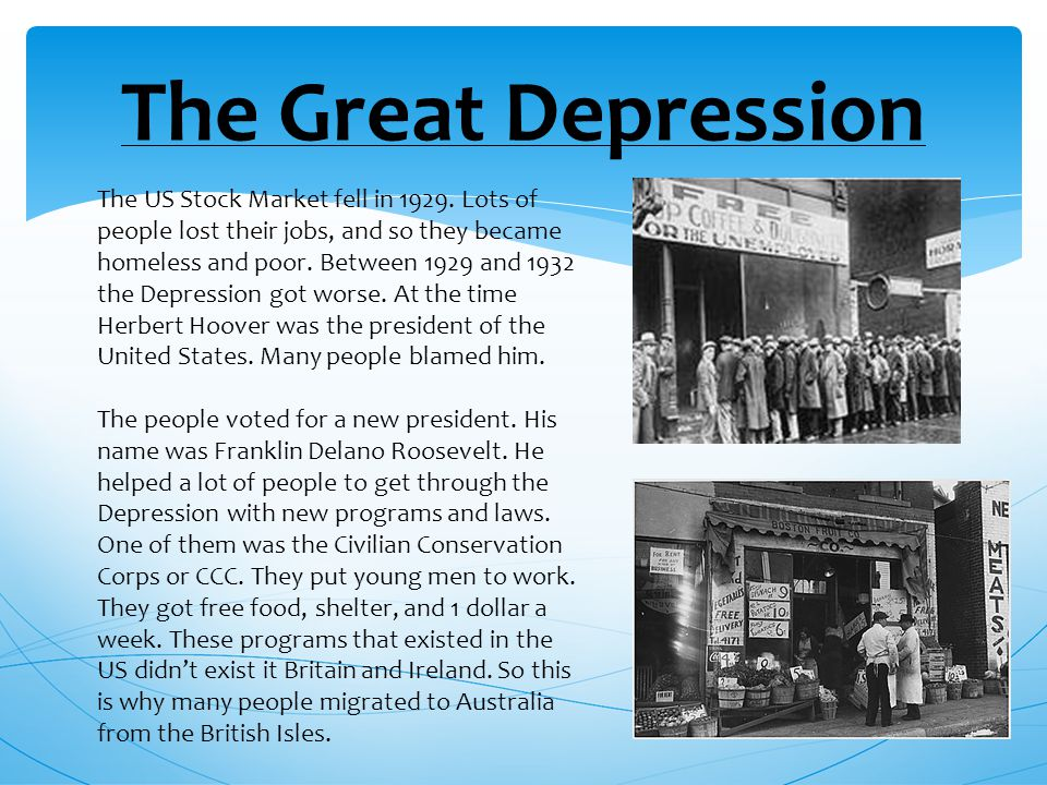 The Great Depression The US Stock Market fell in 1929.