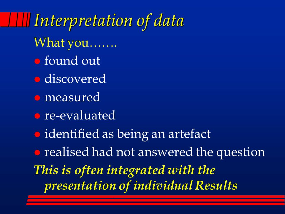 Interpretation of data What you…….