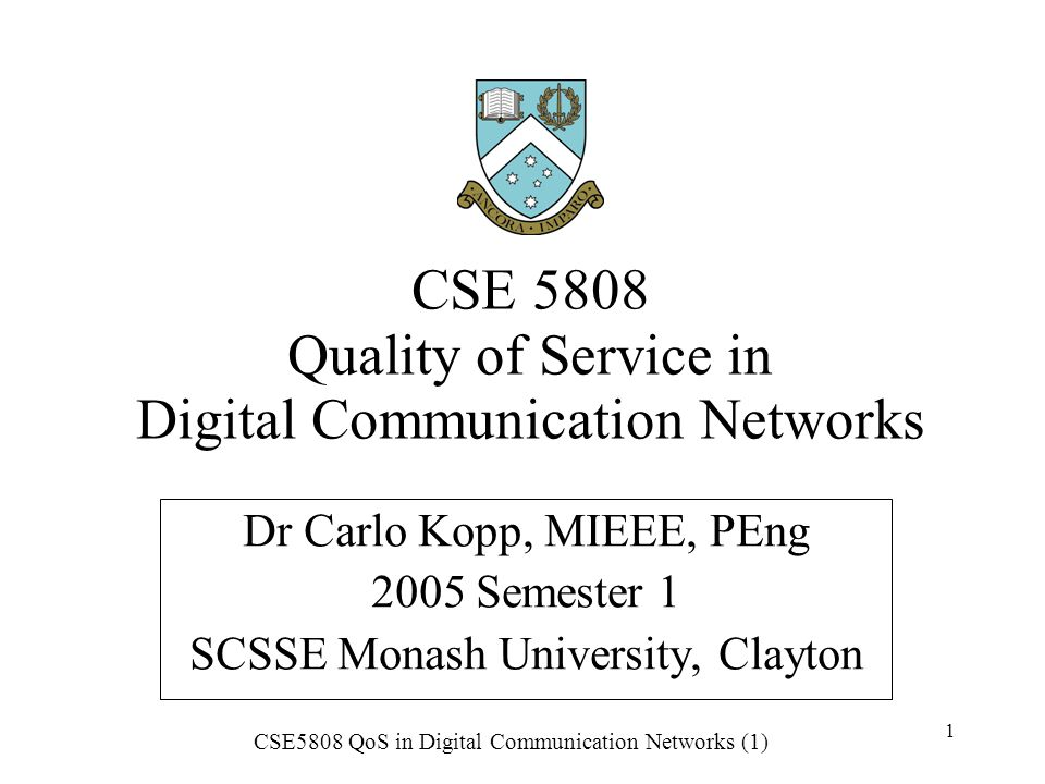 CSE5808 QoS in Digital Communication Networks (1) 2 1.1 Introduction Quality of service (QoS) in modern communication networks is about the allocation of network resources to cater for prioritised services.