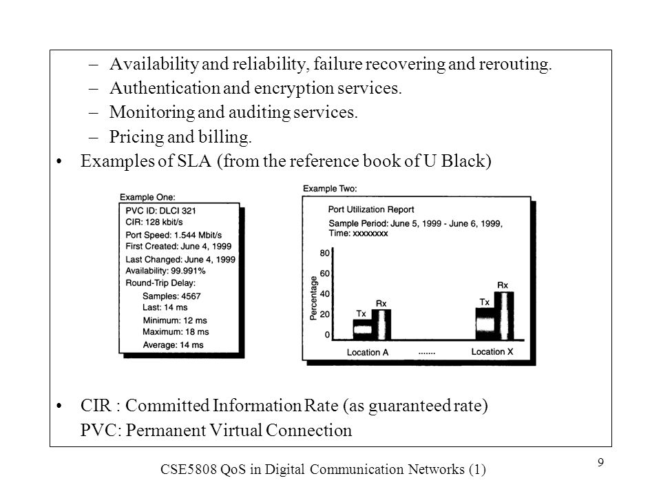 CSE5808 QoS in Digital Communication Networks (1) 110 Rate allocation service schedulers are work-conserving.
