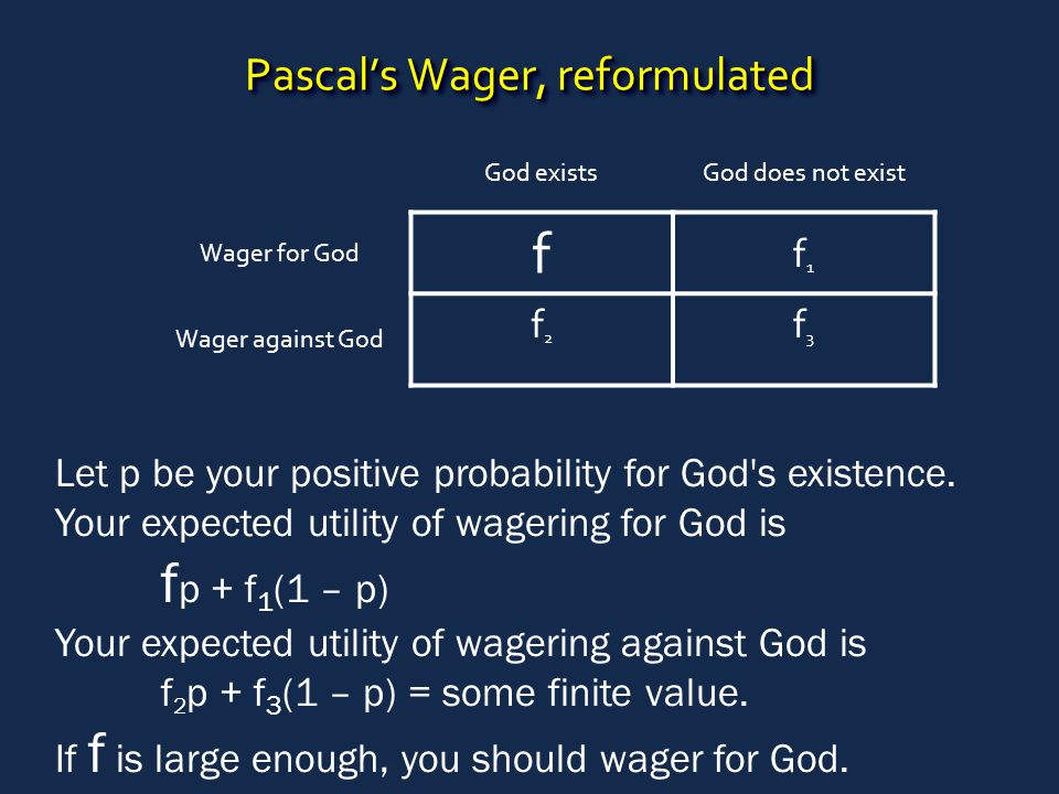 Pascal's Wager, reformulated God existsGod does not exist Wager for God f f1f1 Wager against God f2f2 f3f3 Let p be your positive probability for God'