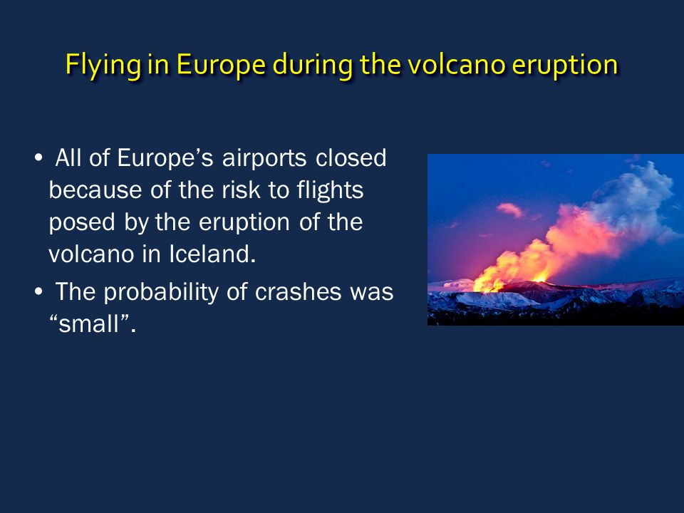Flying in Europe during the volcano eruption All of Europe's airports closed because of the risk to flights posed by the eruption of the volcano in Iceland.
