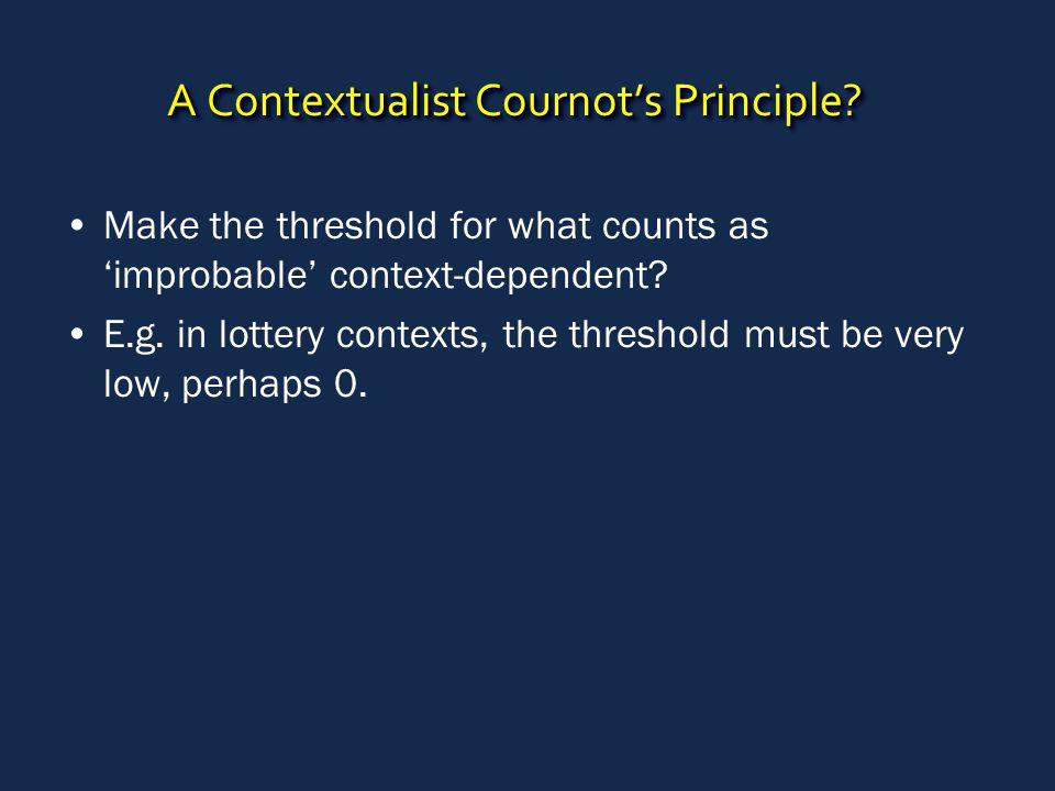 A Contextualist Cournot's Principle.