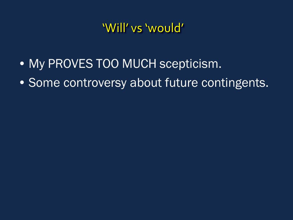 'Will' vs 'would' My PROVES TOO MUCH scepticism. Some controversy about future contingents.