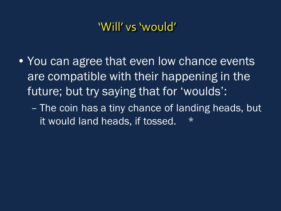 'Will' vs 'would' You can agree that even low chance events are compatible with their happening in the future; but try saying that for 'woulds': –The