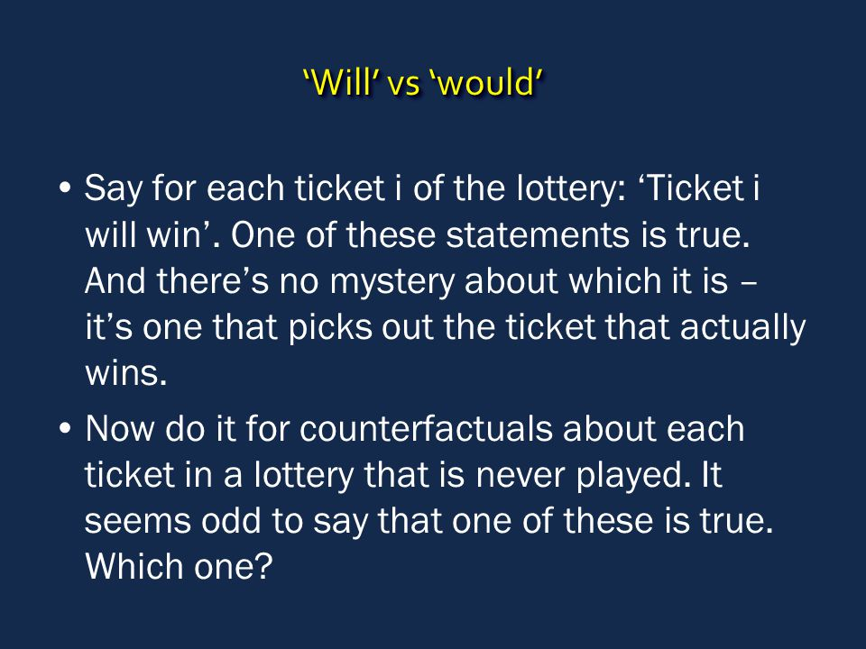 'Will' vs 'would' Say for each ticket i of the lottery: 'Ticket i will win'.