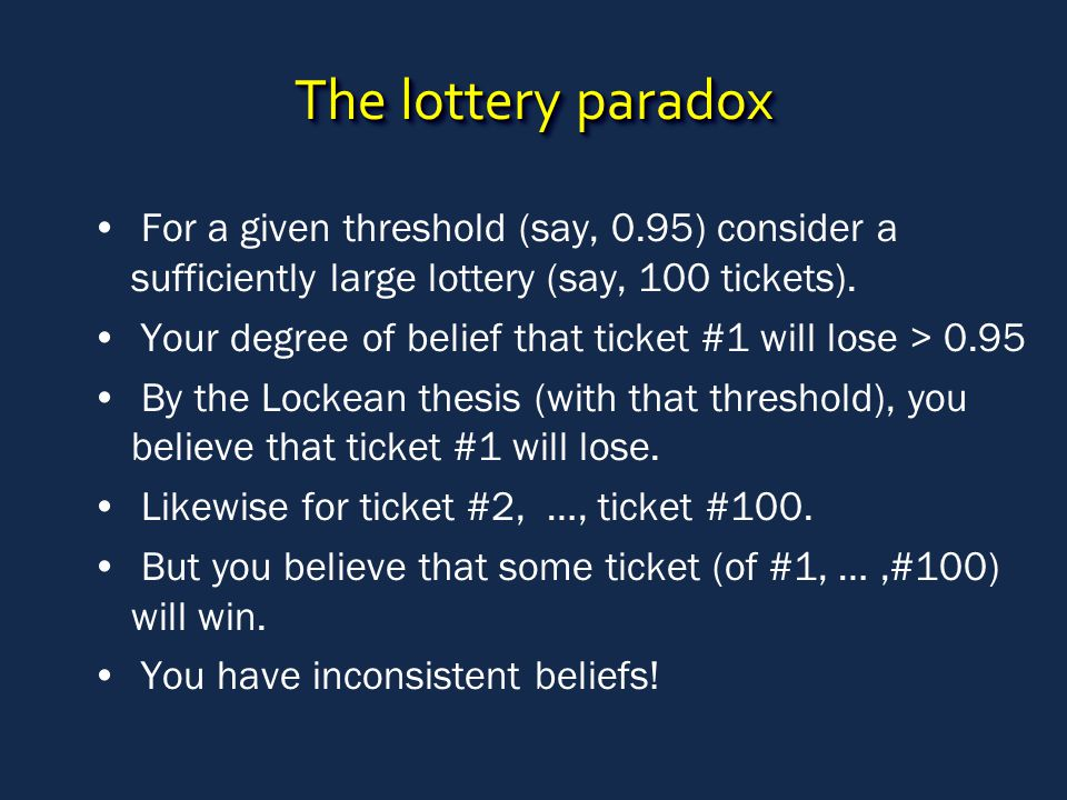 The lottery paradox For a given threshold (say, 0.95) consider a sufficiently large lottery (say, 100 tickets). Your degree of belief that ticket #1 w