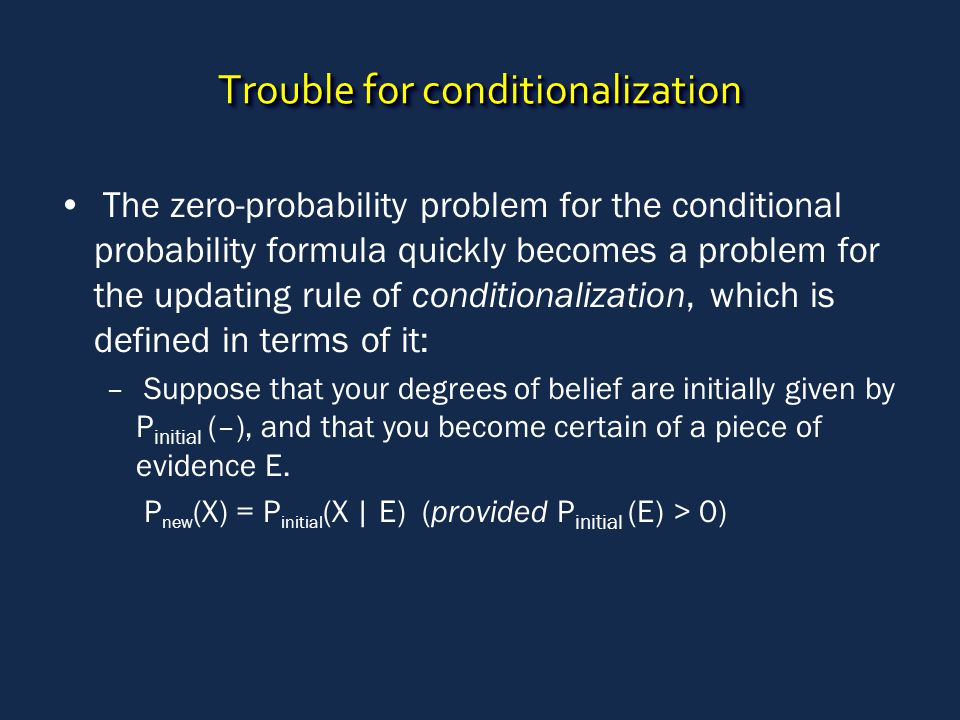Trouble for conditionalization The zero-probability problem for the conditional probability formula quickly becomes a problem for the updating rule of