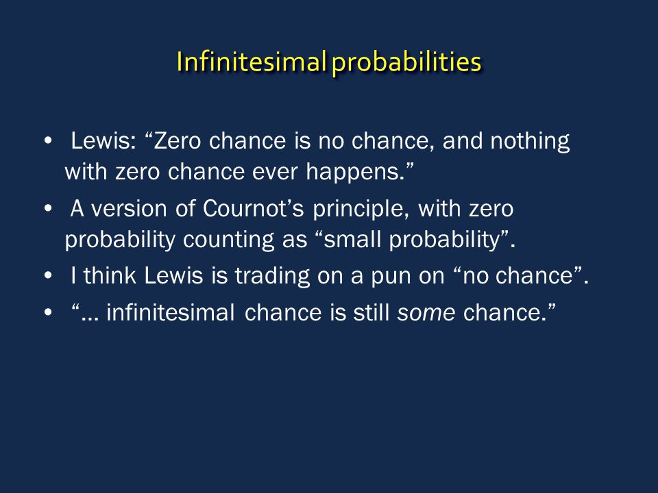 """Infinitesimal probabilities Lewis: """"Zero chance is no chance, and nothing with zero chance ever happens."""" A version of Cournot's principle, with zero"""