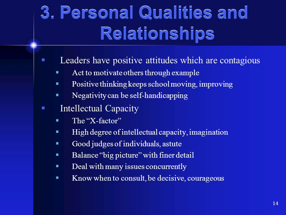 14 3. Personal Qualities and Relationships  Leaders have positive attitudes which are contagious  Act to motivate others through example  Positive