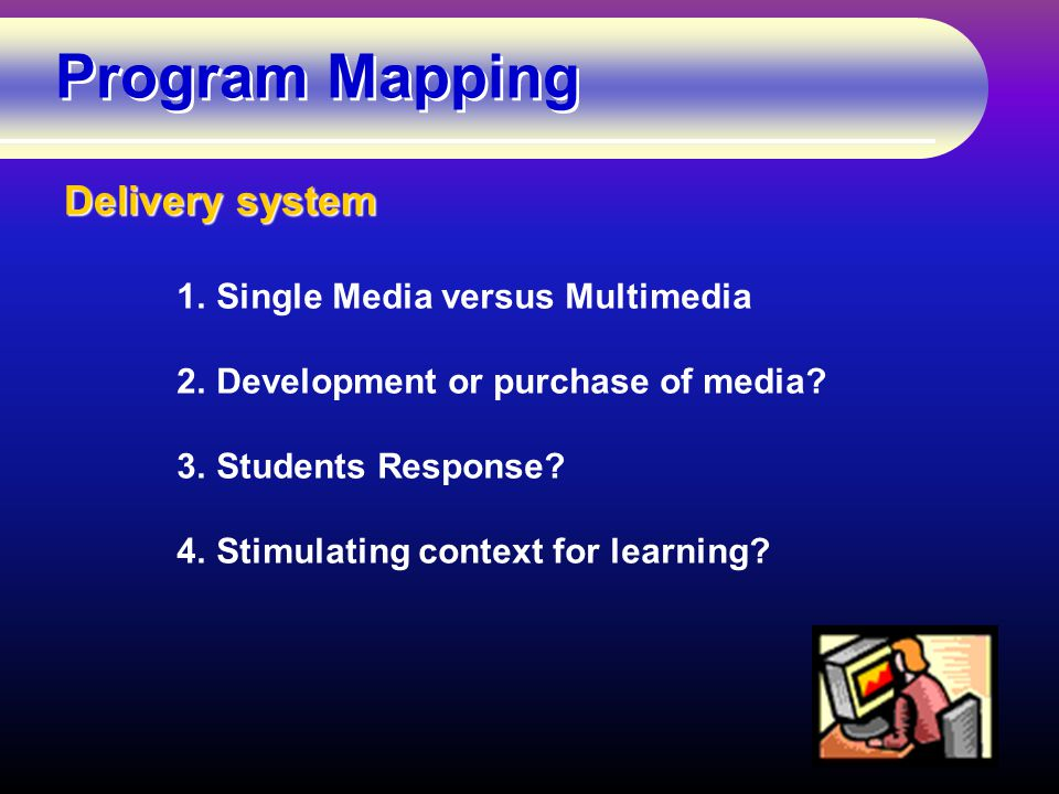 Program Mapping Delivery system 1.Single Media versus Multimedia 2.Development or purchase of media.