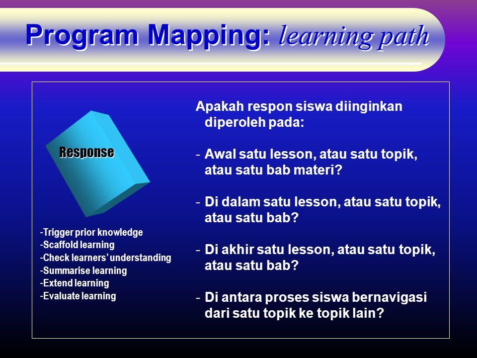 Program Mapping: learning path Response - Trigger prior knowledge - Scaffold learning - Check learners' understanding - Summarise learning - Extend learning - Evaluate learning Apakah respon siswa diinginkan diperoleh pada: -Awal satu lesson, atau satu topik, atau satu bab materi.