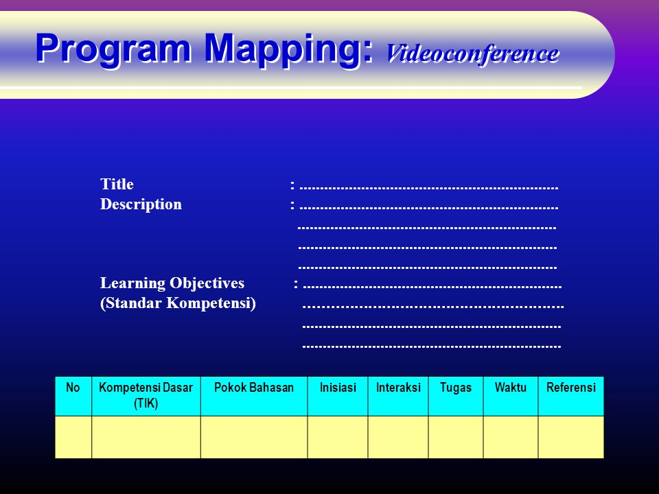 Program Mapping: Videoconference Title: