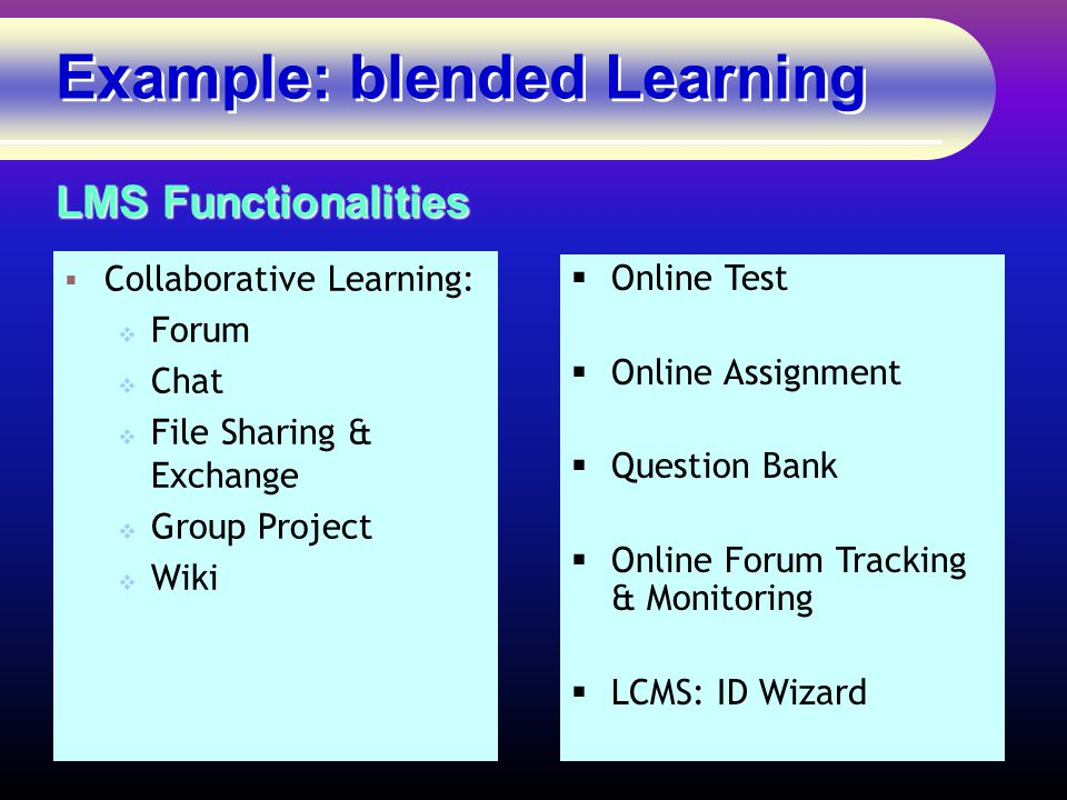 Example: blended Learning  Collaborative Learning:  Forum  Chat  File Sharing & Exchange  Group Project  Wiki LMS Functionalities  Online Test  Online Assignment  Question Bank  Online Forum Tracking & Monitoring  LCMS: ID Wizard