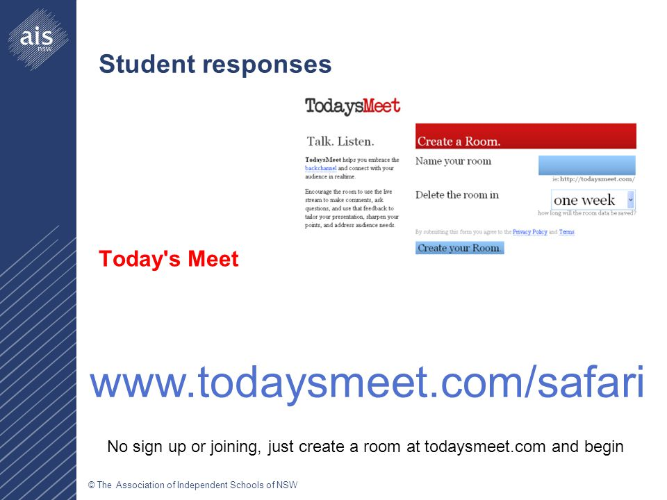 © The Association of Independent Schools of NSW Student responses Today s Meet   No sign up or joining, just create a room at todaysmeet.com and begin