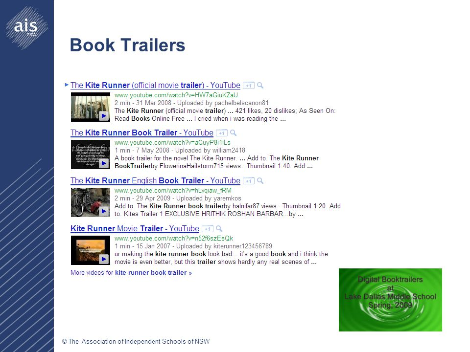 © The Association of Independent Schools of NSW Book Trailers