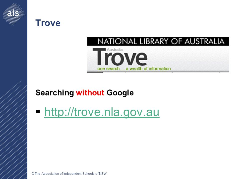 © The Association of Independent Schools of NSW Trove Searching without Google  http://trove.nla.gov.au http://trove.nla.gov.au