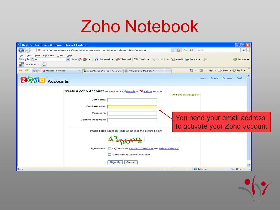 Zoho Notebook You need your email address to activate your Zoho account