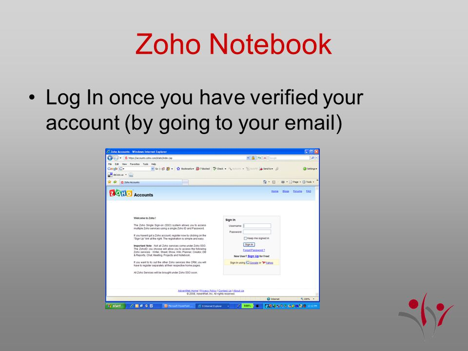 Zoho Notebook Log In once you have verified your account (by going to your email)