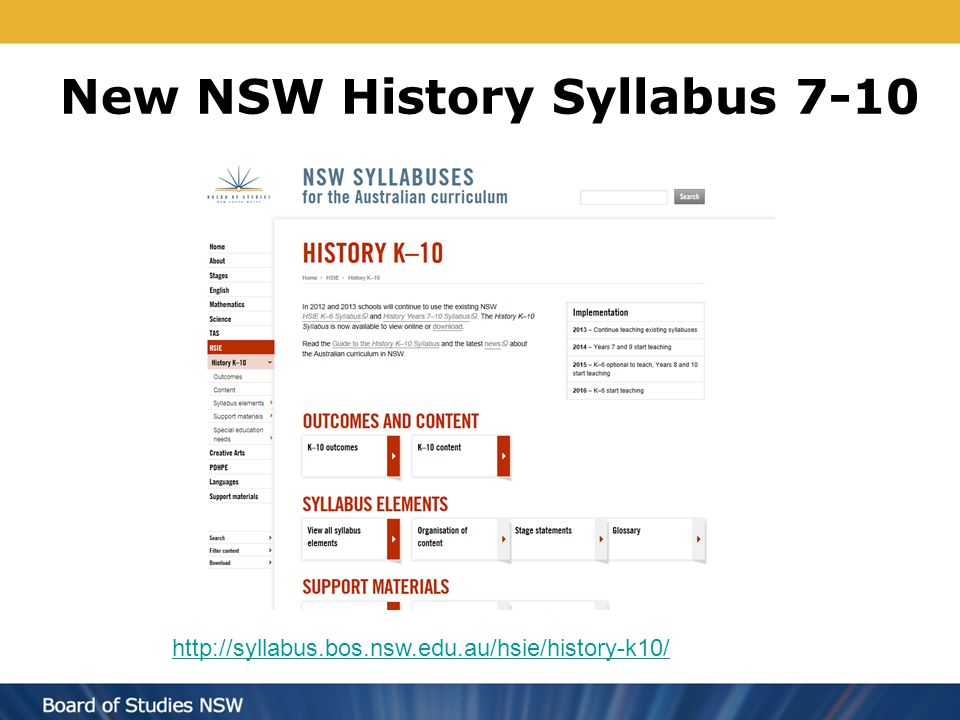 New NSW History Syllabus 7-10 Add screen shot of History & url