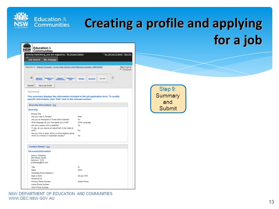 NSW DEPARTMENT OF EDUCATION AND COMMUNITIES   Creating a profile and applying for a job Step 9: Summary and Submit 13