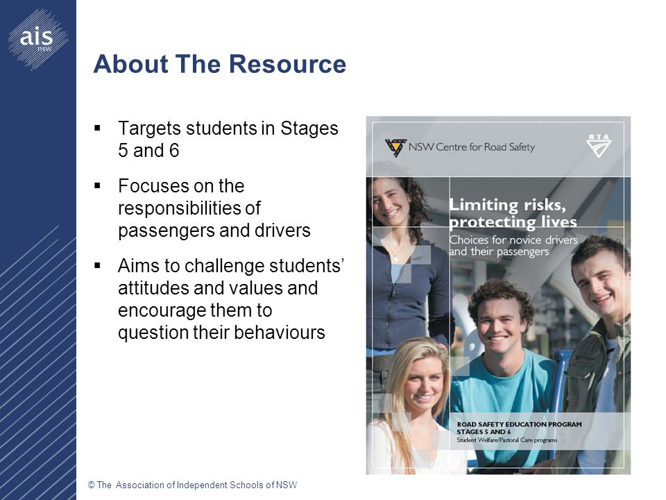 © The Association of Independent Schools of NSW About The Resource  Targets students in Stages 5 and 6  Focuses on the responsibilities of passenger