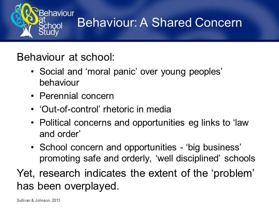 Behaviour at school: Social and 'moral panic' over young peoples' behaviour Perennial concern 'Out-of-control' rhetoric in media Political concerns and opportunities eg links to 'law and order' School concern and opportunities - 'big business' promoting safe and orderly, 'well disciplined' schools Yet, research indicates the extent of the 'problem' has been overplayed.
