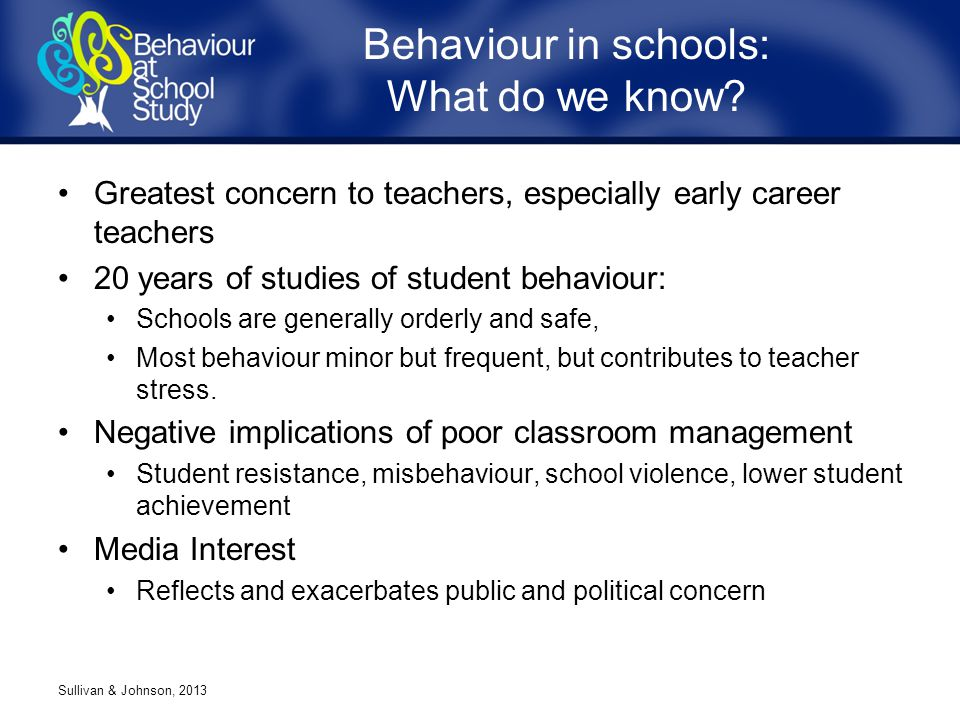 Greatest concern to teachers, especially early career teachers 20 years of studies of student behaviour: Schools are generally orderly and safe, Most behaviour minor but frequent, but contributes to teacher stress.