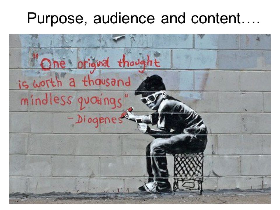 Purpose, audience and content…. Purpose Content Audience Imaginative Persuasive Informative