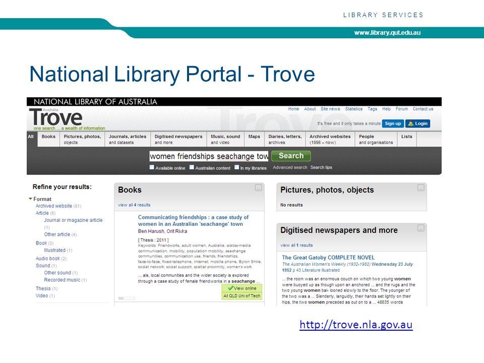www.library.qut.edu.au LIBRARY SERVICES National Library Portal - Trove http://trove.nla.gov.au