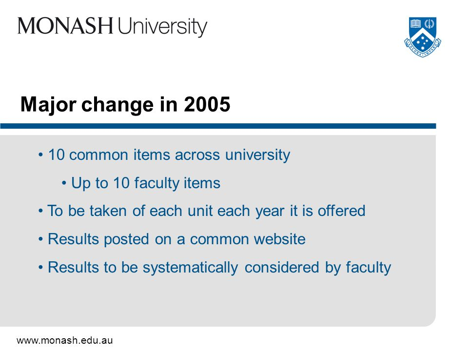 www.monash.edu.au Major change in 2005 10 common items across university Up to 10 faculty items To be taken of each unit each year it is offered Results posted on a common website Results to be systematically considered by faculty