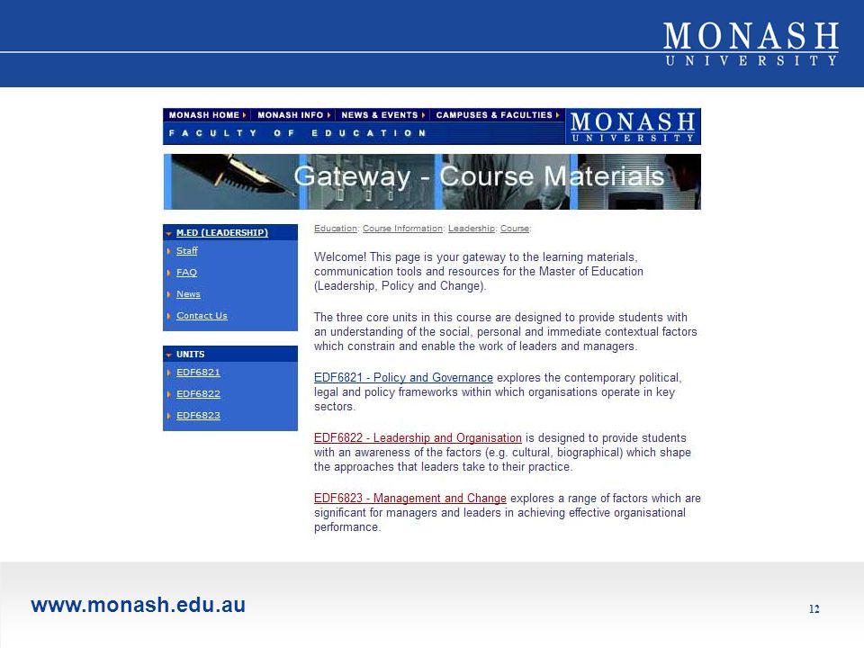 www.monash.edu.au 12