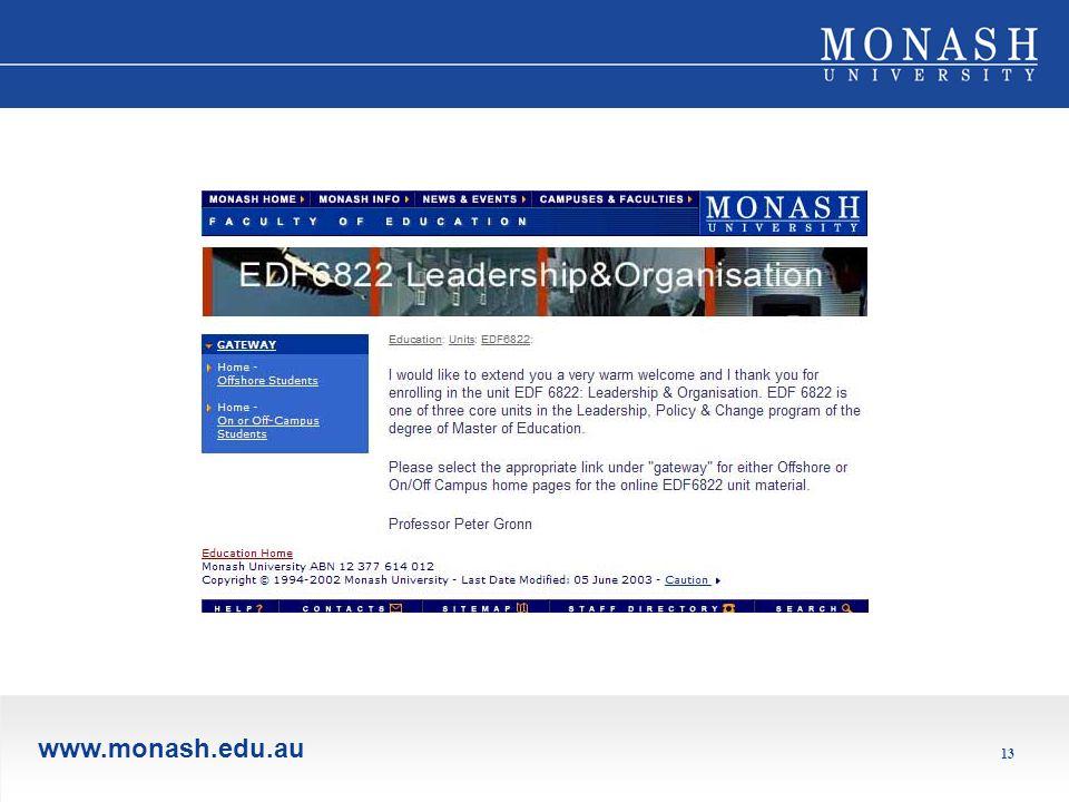 www.monash.edu.au 13